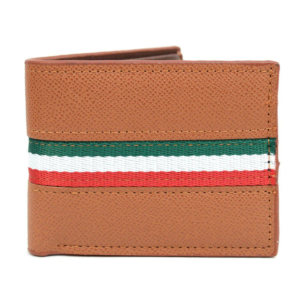 Bi-Fold Leather Wallet with Striped Decoration-Brown-Daily Steals