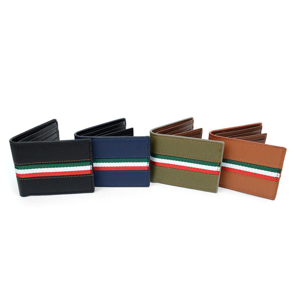 Bi-Fold Leather Wallet with Striped Decoration-Daily Steals
