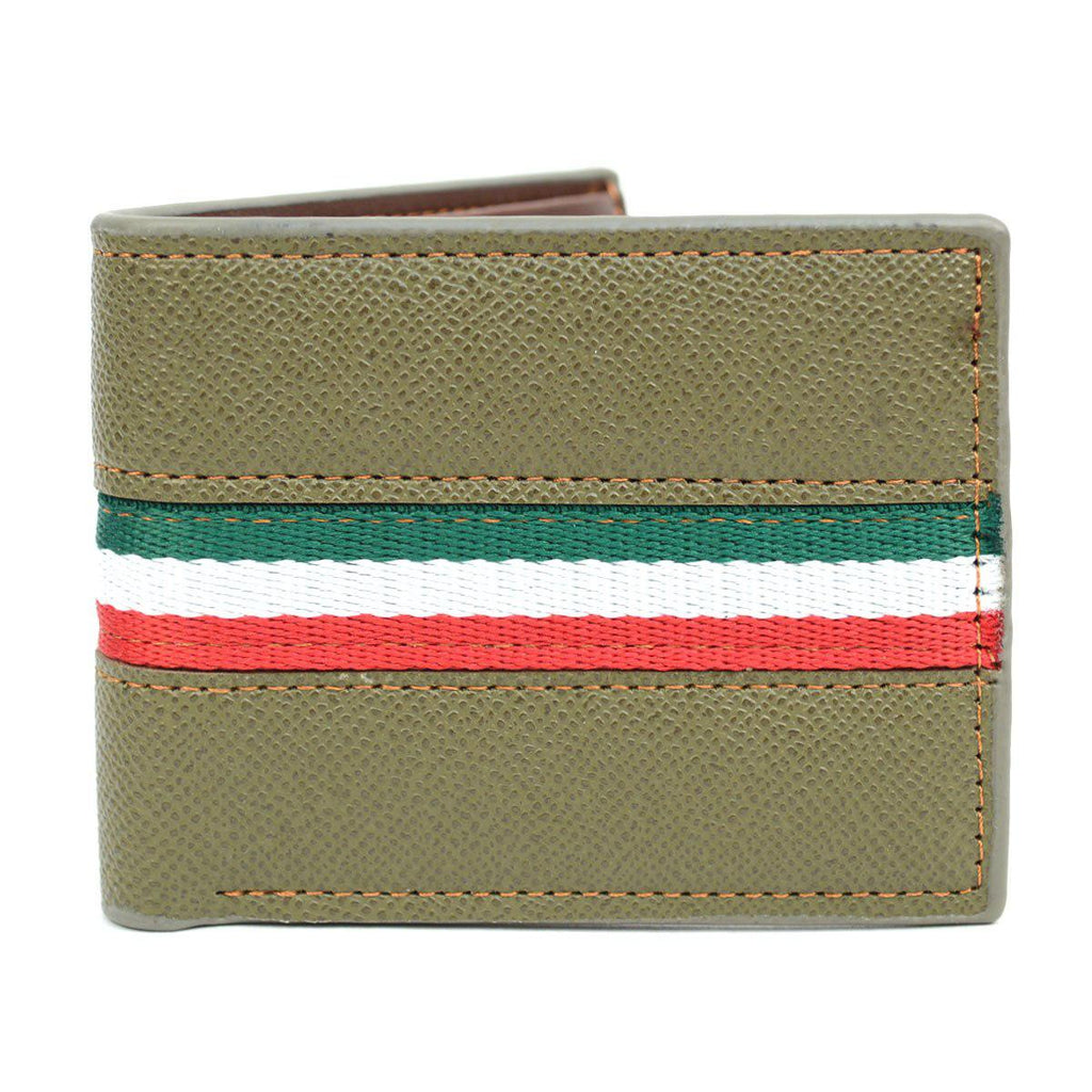 Bi-Fold Leather Wallet with Striped Decoration-Green-Daily Steals
