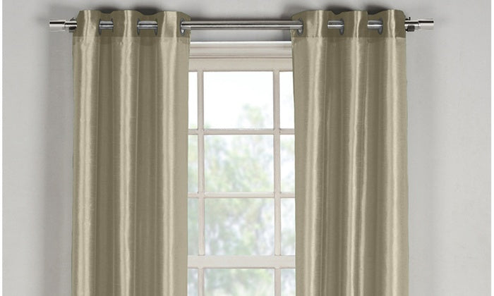 "Bali Faux Silk Grommet Window Panel Pairs-Mocha - 38"" x 96""-Daily Steals"