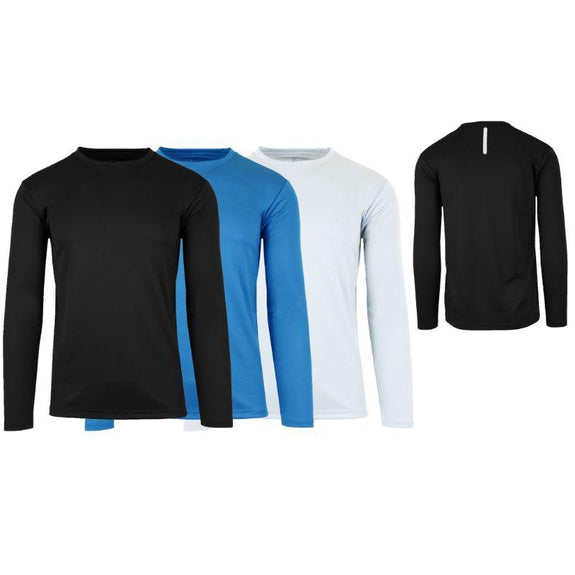 Men's Long Sleeve Moisture-Wicking Performance Crew Neck Tee - 3 Pack-Black & Medium Blue & White-Small-Daily Steals