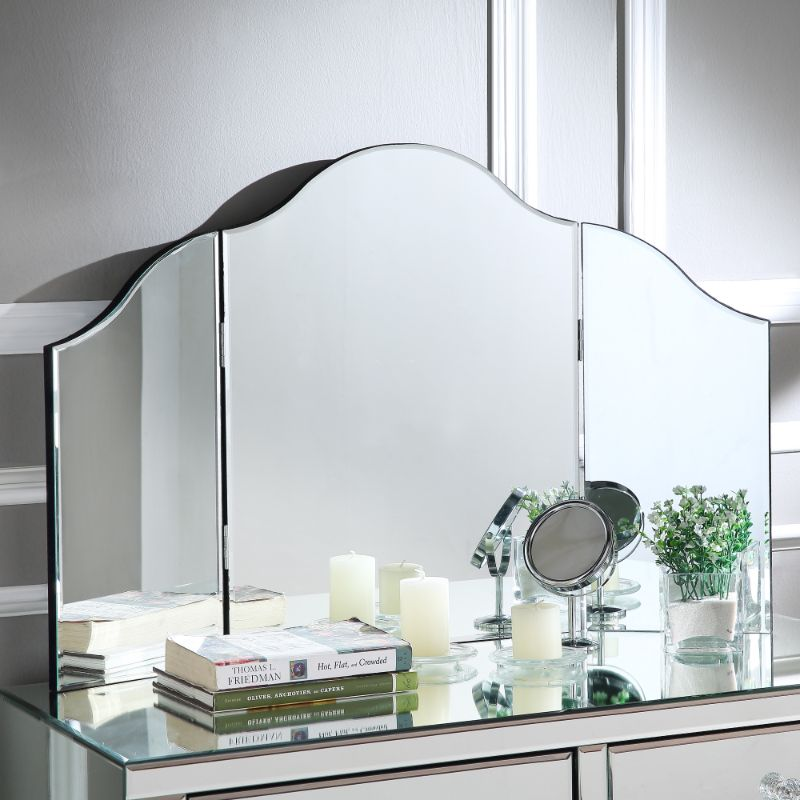 Mokella Frameless Modern Contemporary Tri-fold Tabletop Vanity Mirror-Daily Steals