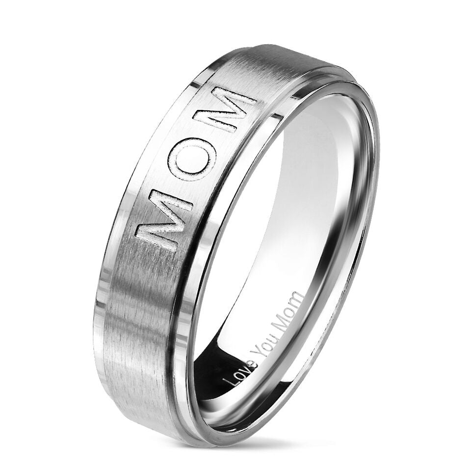 Mirrored Stainless Steel Mom Ring-White-Size 6-Daily Steals