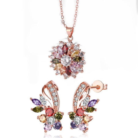 Mona Lisa Flower Stud Necklace Set with Crystals In 18k Rose Gold Filled-Daily Steals