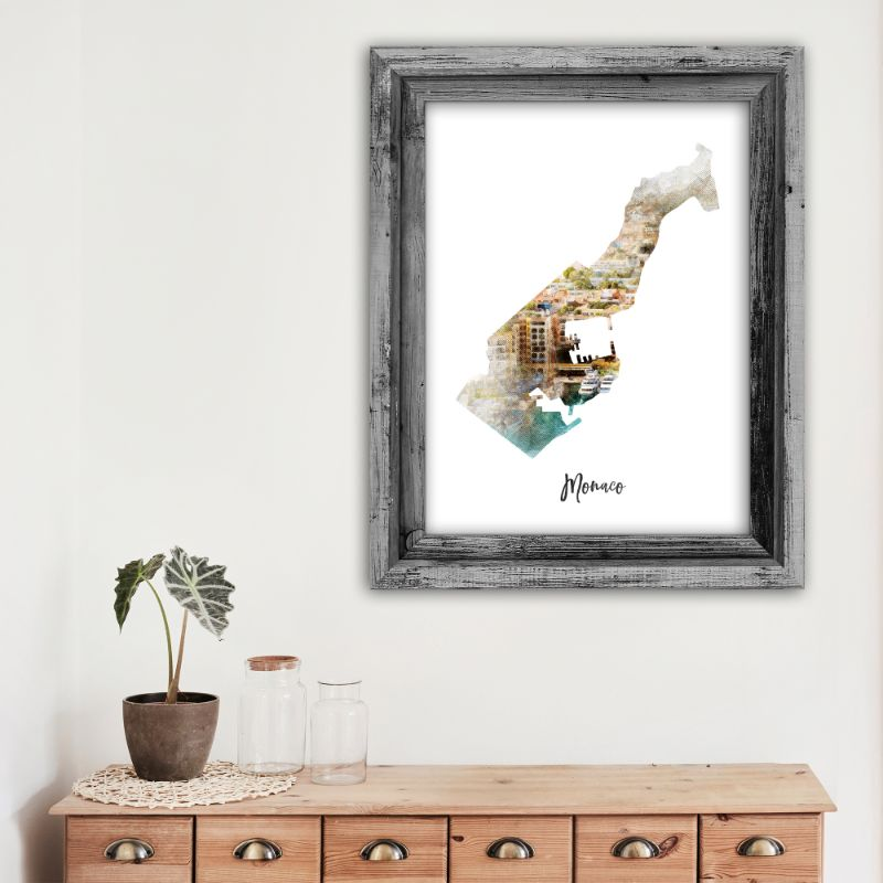 "Monaco Watercolor Map Print - Unframed Art Print-13""x19""-Vertical/Portrait-Daily Steals"