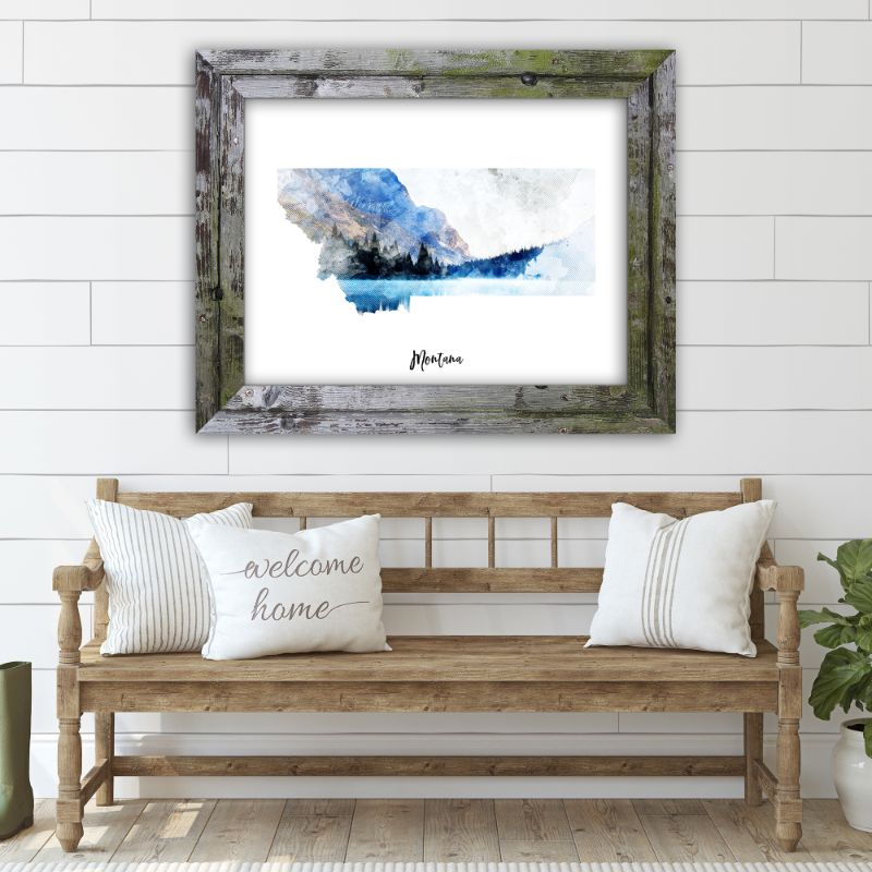 "Montana Watercolor Map Print - Unframed Art Print-16""x12""-Horizontal/Landscape-Daily Steals"