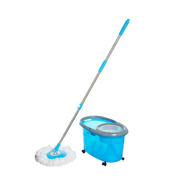 Clean Spin 360 Microfiber Spin Mop & Bucket System with Wheels-Blue-Daily Steals