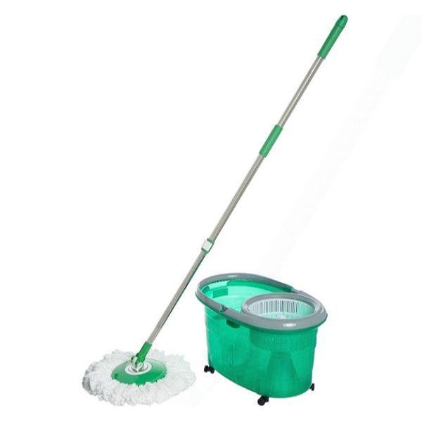 Clean Spin 360 Microfiber Spin Mop & Bucket System with Wheels-Green-Daily Steals