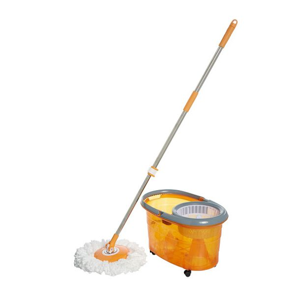 Clean Spin 360 Microfiber Spin Mop & Bucket System with Wheels-Orange-Daily Steals