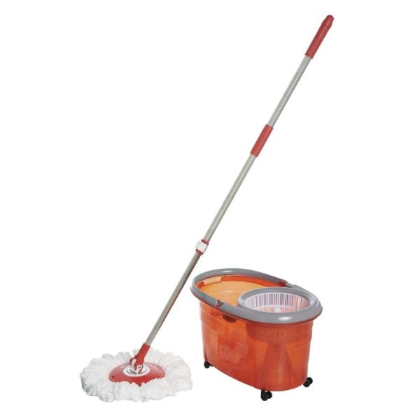 Clean Spin 360 Microfiber Spin Mop & Bucket System with Wheels-Red-Daily Steals