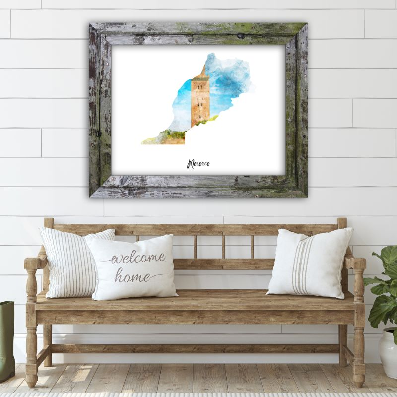 "Morocco Watercolor Map Print - Unframed Art Print-14""x11""-Horizontal/Landscape-Daily Steals"