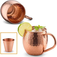Moscow Mule Copper Mugs - Hammered Finish - 2 Pack with Shot Glass, 16 Oz-