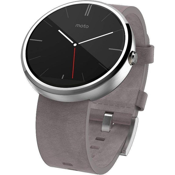 Motorola Moto 360 Modern Timepiece Leather Smart Watch-Stone Grey Leather-