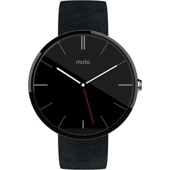 Motorola Moto 360 Modern Timepiece Leather Smart Watch-Black Leather-