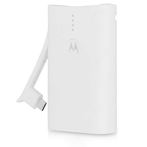 Motorola 3000mAh Motorola Power Bank Charger with Built-In USB and Micro USB-White-Daily Steals