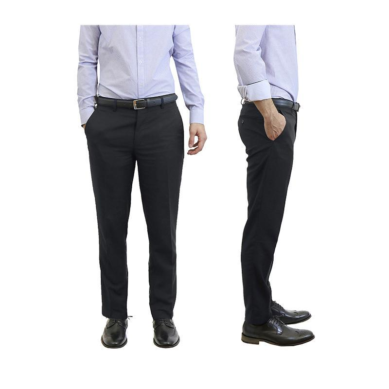 Men's Belted Slim Fit Dress Pants-Black-30X30-Daily Steals