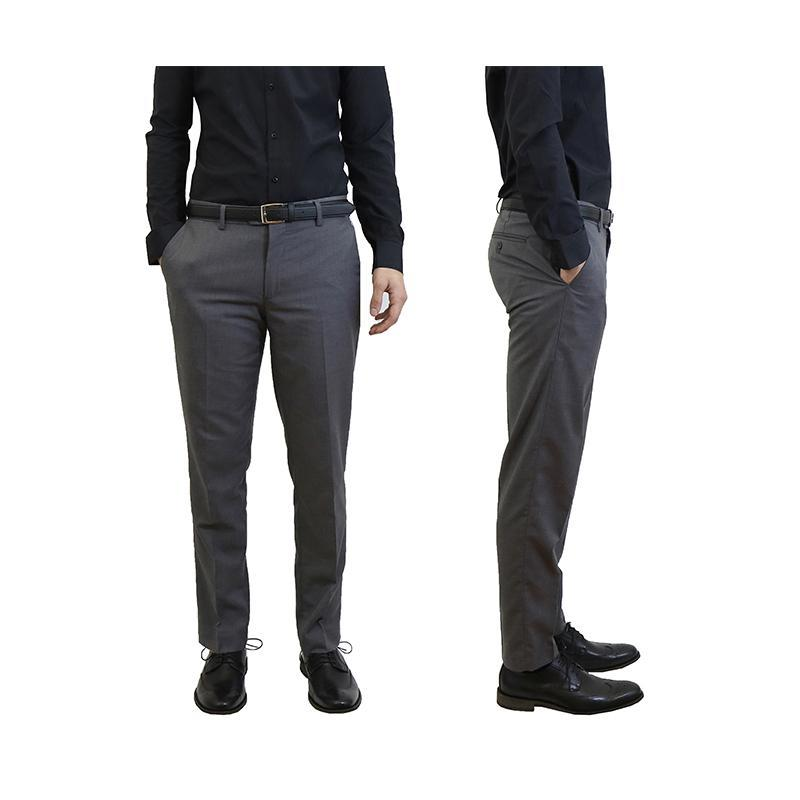 Men's Belted Slim Fit Dress Pants-Grey-30X30-Daily Steals
