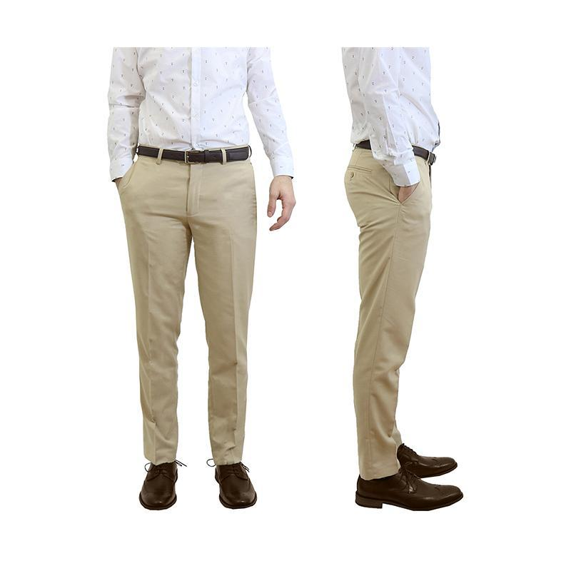 Men's Belted Slim Fit Dress Pants-Khaki-32X30-Daily Steals