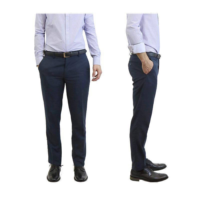 Men's Belted Slim Fit Dress Pants-Navy-30X30-Daily Steals