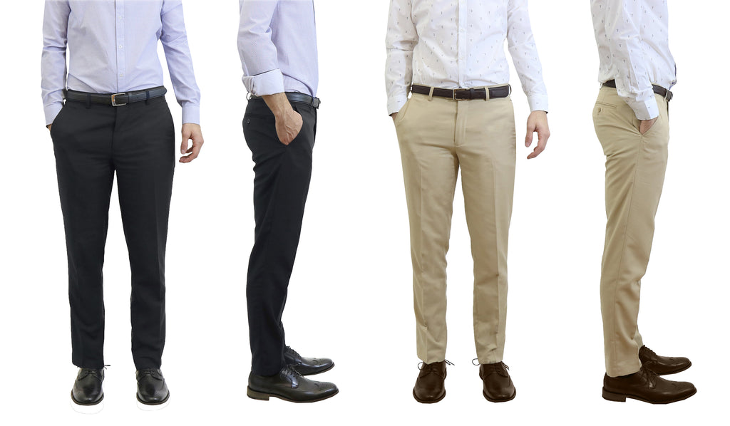 Men's Flat Front Slim Fit Belted Dress Pants