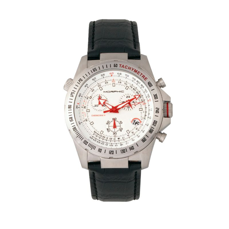 Morphic M36 Series Leather-Band Chronograph Watch-Silver/White-Daily Steals