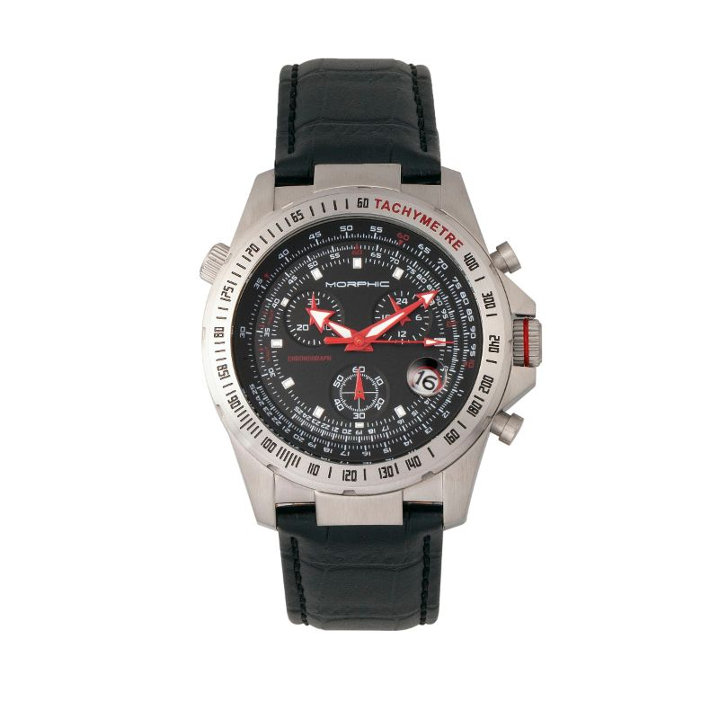 Morphic M36 Series Leather-Band Chronograph Watch-Silver/Black-Daily Steals