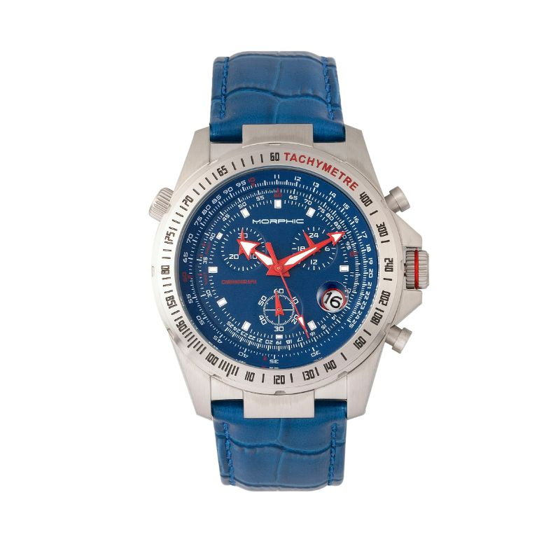 Morphic M36 Series Leather-Band Chronograph Watch-Silver/Blue-Daily Steals