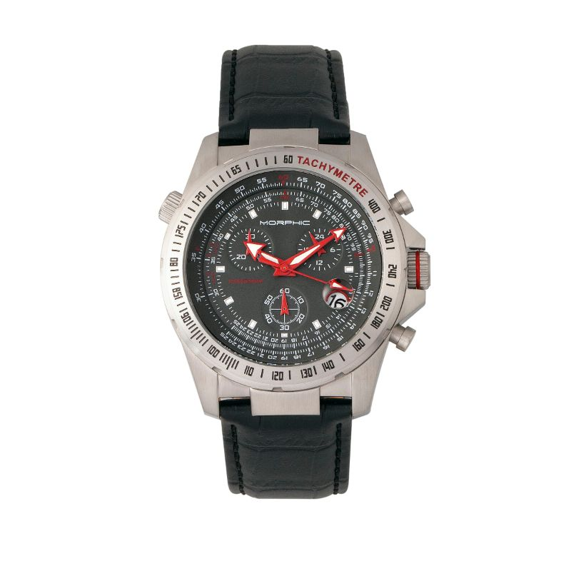 Morphic M36 Series Leather-Band Chronograph Watch-Silver/Charcoal-Daily Steals
