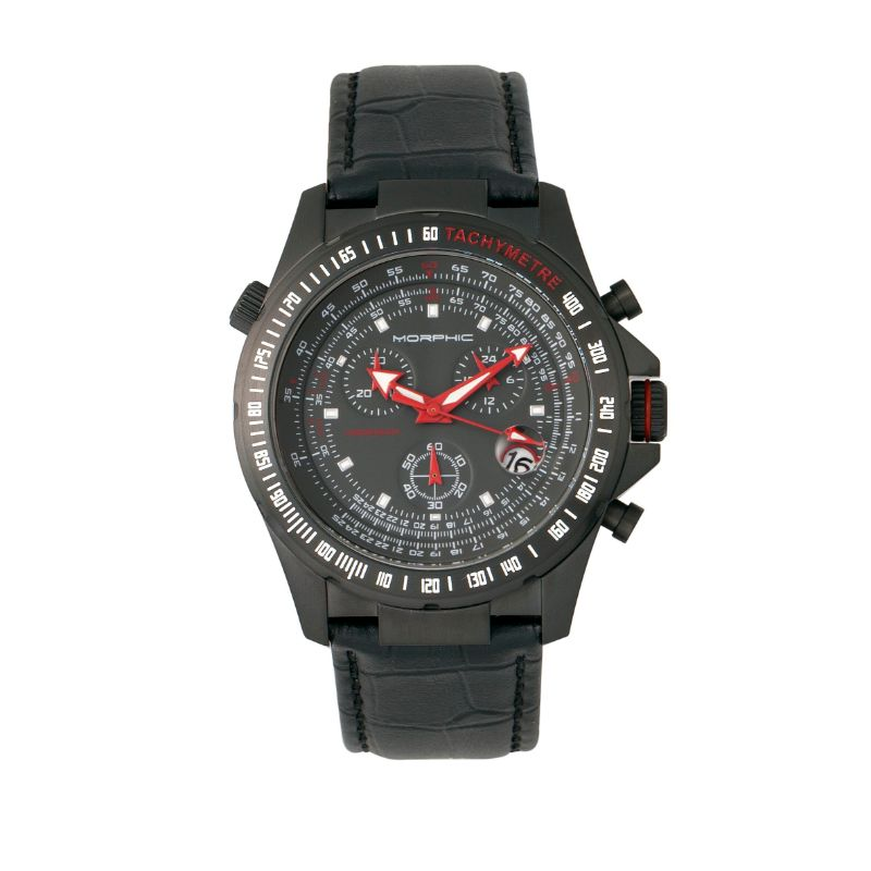 Morphic M36 Series Leather-Band Chronograph Watch-Black-Daily Steals