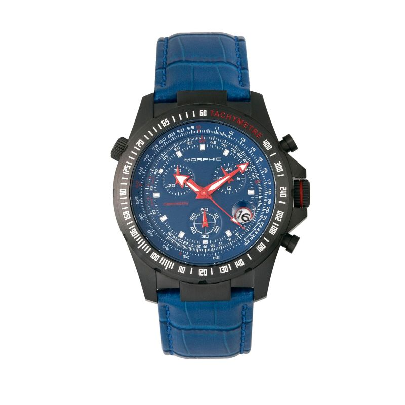 Morphic M36 Series Leather-Band Chronograph Watch-Black/Blue-Daily Steals