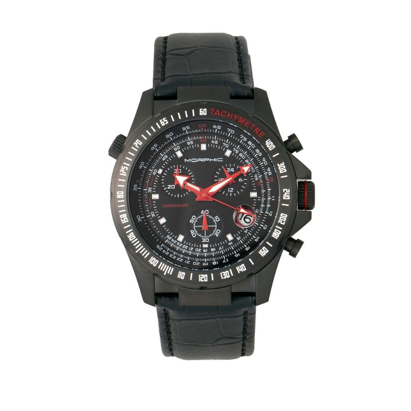 Morphic M36 Series Leather-Band Chronograph Watch-Black/Charcoal-Daily Steals