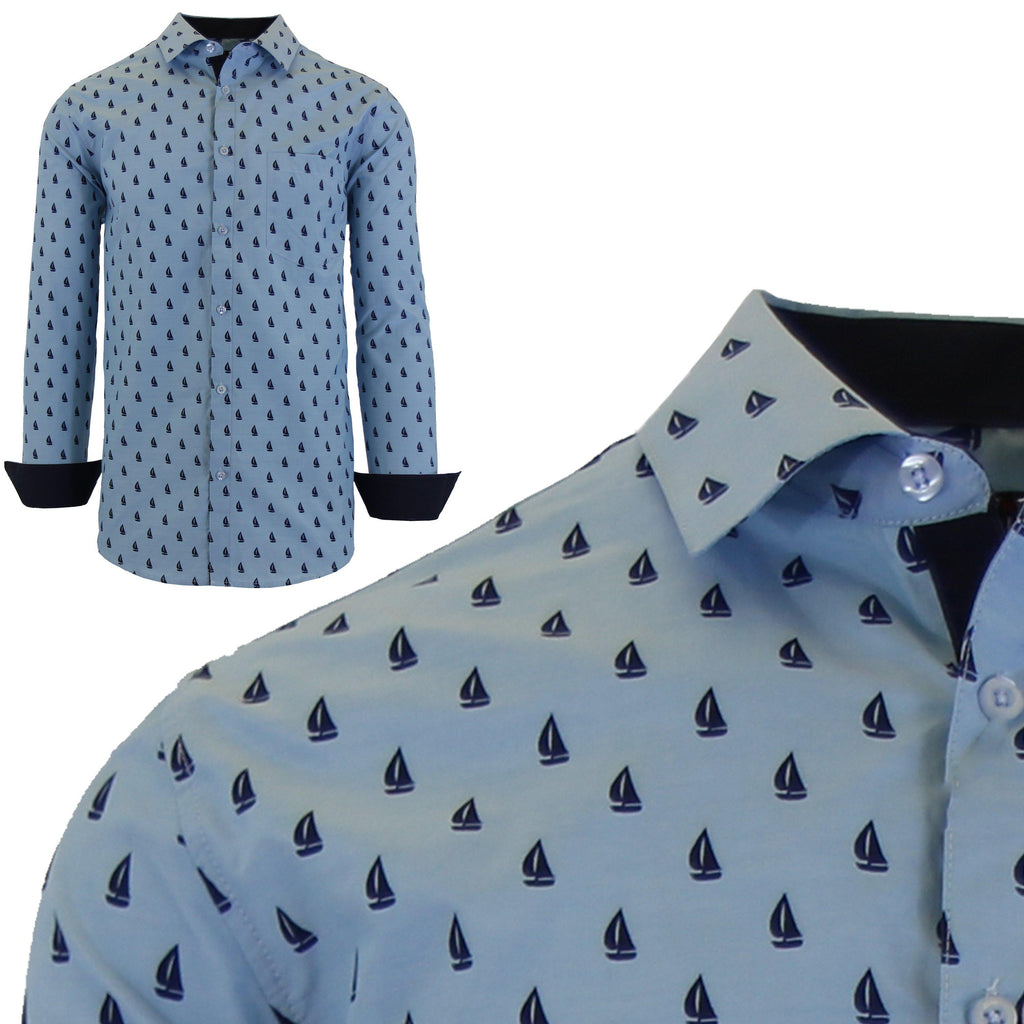 Men's Long Sleeve Printed Dress Shirts With Chest Pocket-Light Blue Sailboat-2X-Large-Daily Steals
