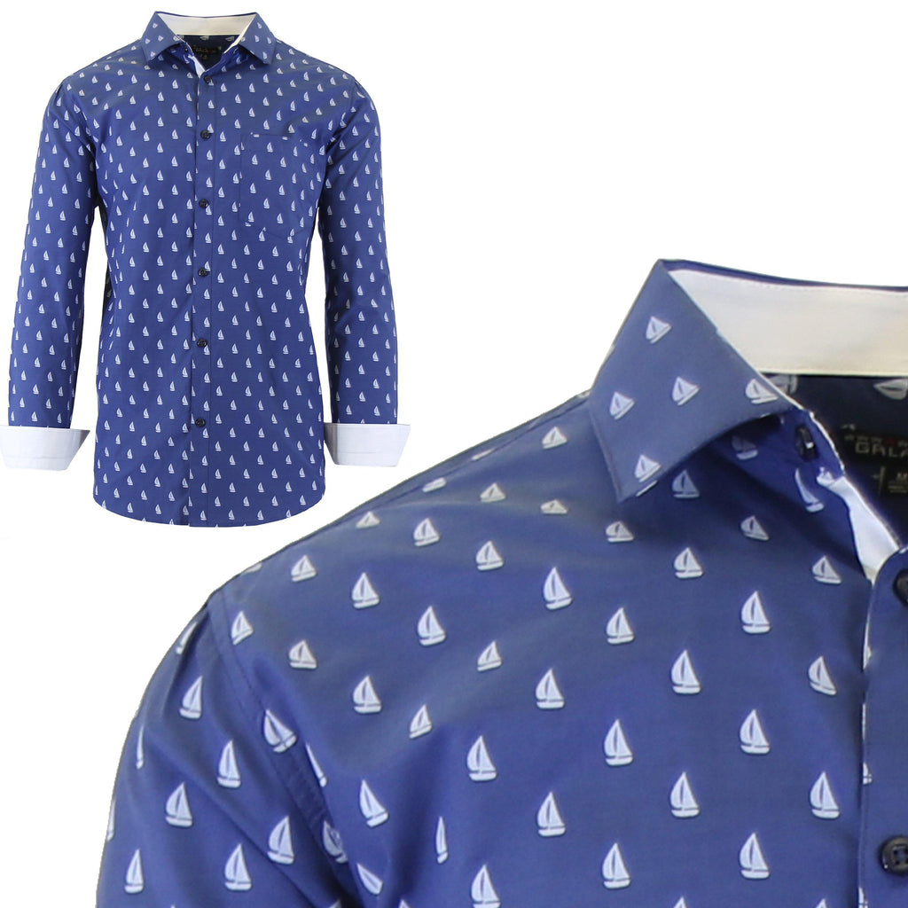 Men's Long Sleeve Printed Dress Shirts With Chest Pocket-Navy Sailboat-2X-Large-Daily Steals