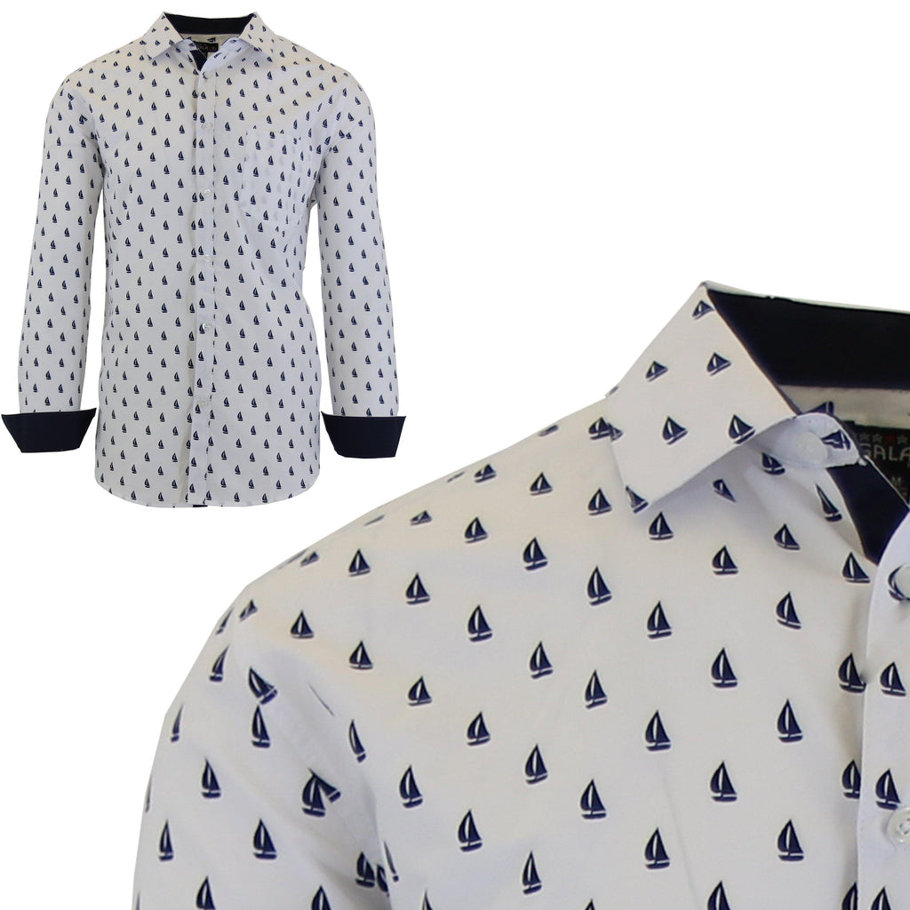 Men's Long Sleeve Printed Dress Shirts With Chest Pocket-White Sailboat-2X-Large-Daily Steals