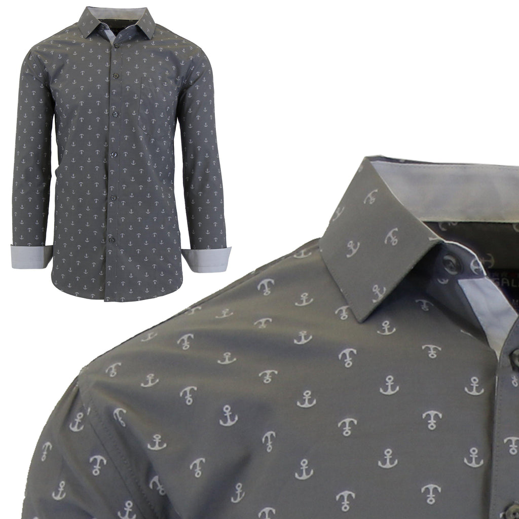 Men's Long Sleeve Printed Dress Shirts With Chest Pocket-Grey Anchor-2X-Large-Daily Steals