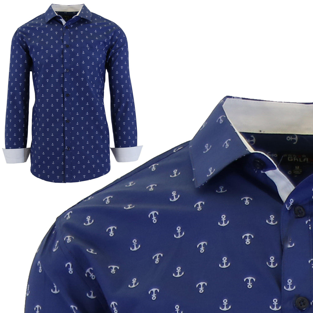 Men's Long Sleeve Printed Dress Shirts With Chest Pocket-Navy Anchor-2X-Large-Daily Steals