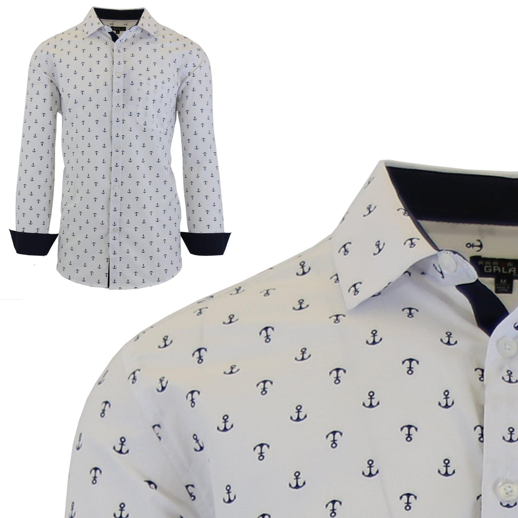 Men's Long Sleeve Printed Dress Shirts With Chest Pocket-White Anchor-2X-Large-Daily Steals