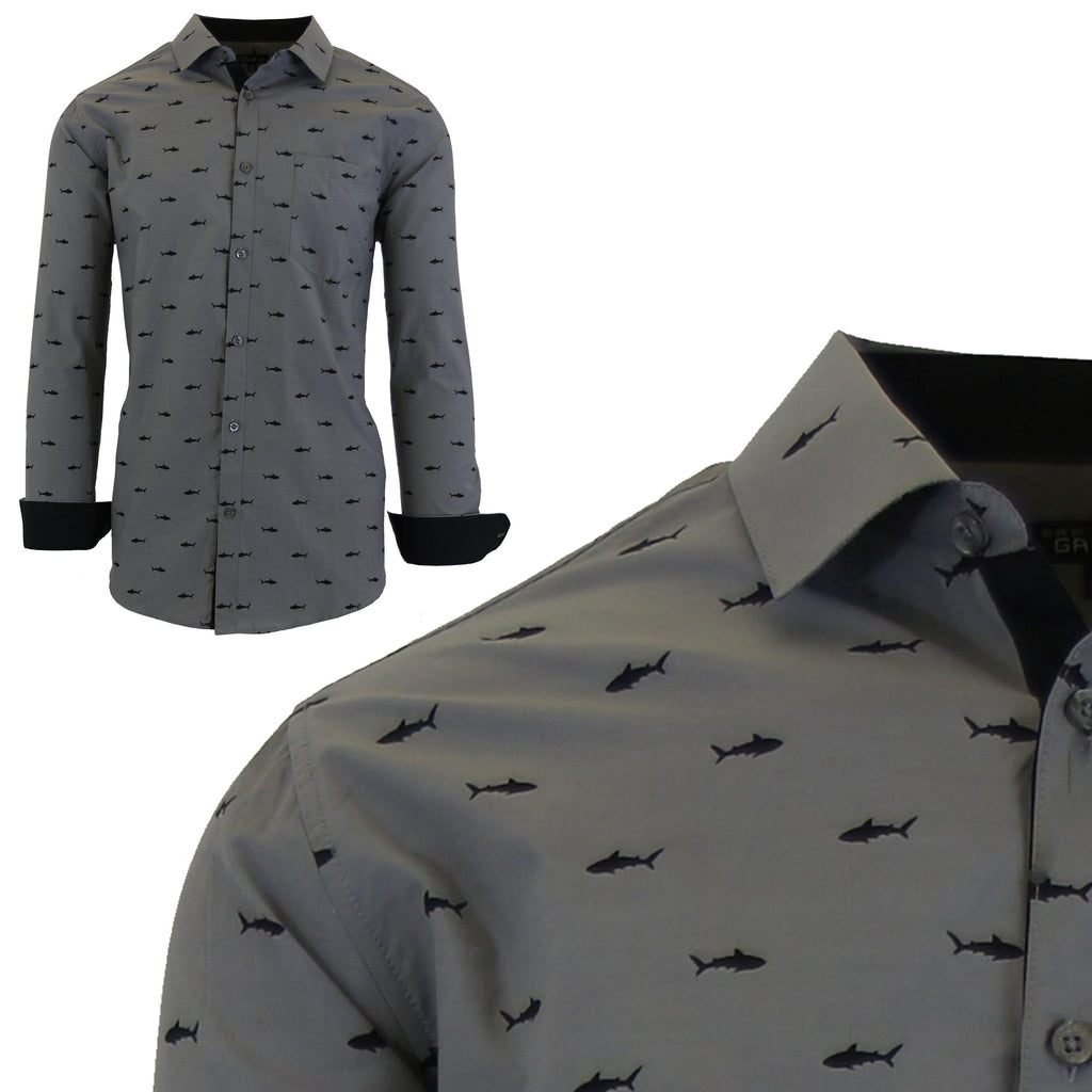 Men's Long Sleeve Printed Dress Shirts With Chest Pocket-Grey Shark-2X-Large-Daily Steals