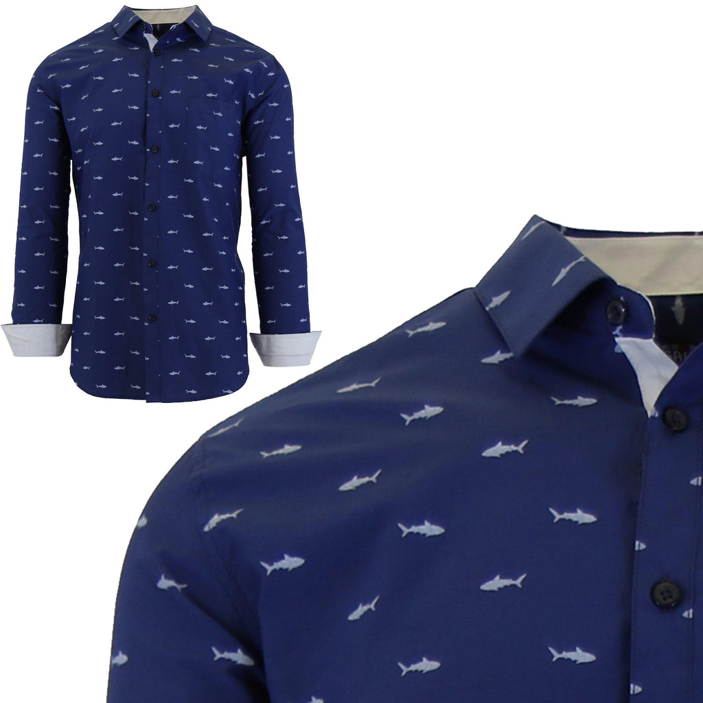 Men's Long Sleeve Printed Dress Shirts With Chest Pocket-Navy Shark-2X-Large-Daily Steals