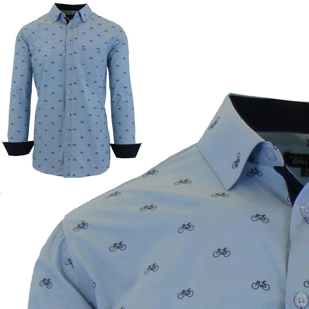 Men's Long Sleeve Printed Dress Shirts With Chest Pocket-Light Blue Bicycle-2X-Large-Daily Steals
