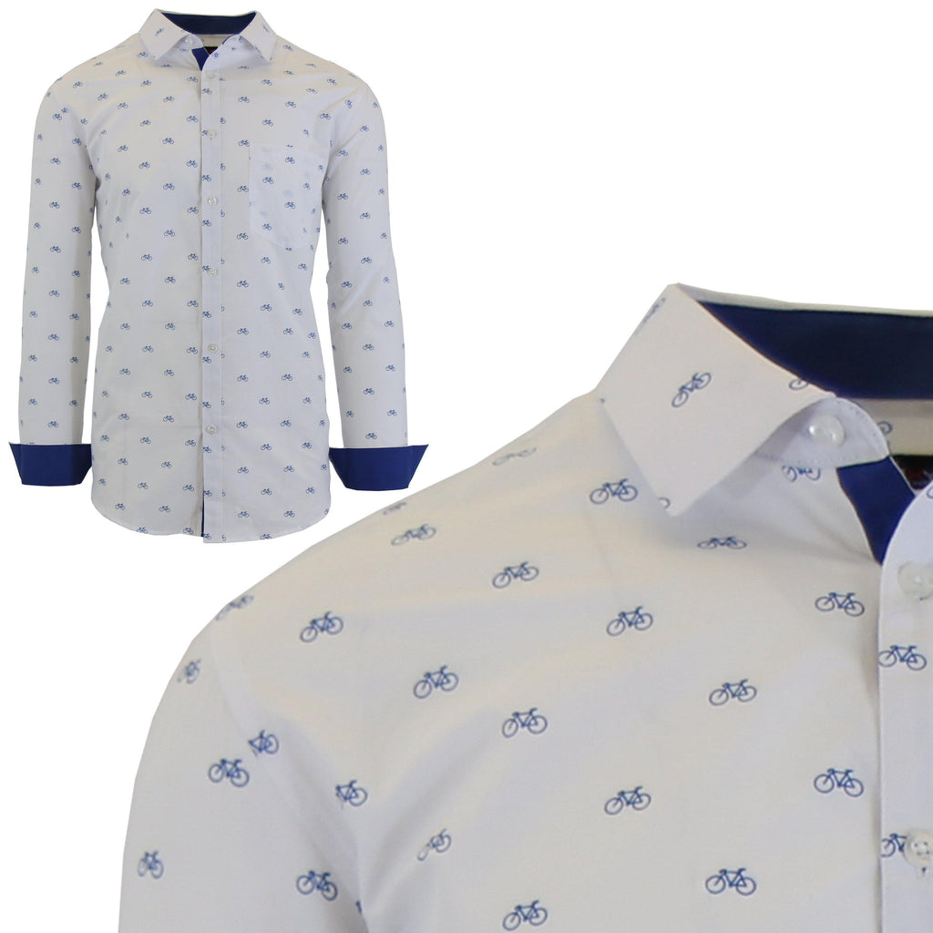 Men's Long Sleeve Printed Dress Shirts With Chest Pocket-White Bicycle-2X-Large-Daily Steals