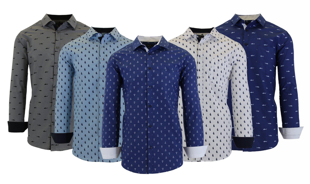 Men's Long Sleeve Printed Dress Shirts With Chest Pocket-Daily Steals