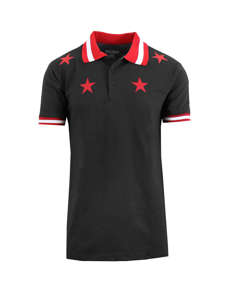Daily Steals-Short Sleeve Printed Polo Shirt for Men-Men's Apparel-Black Star-Small-