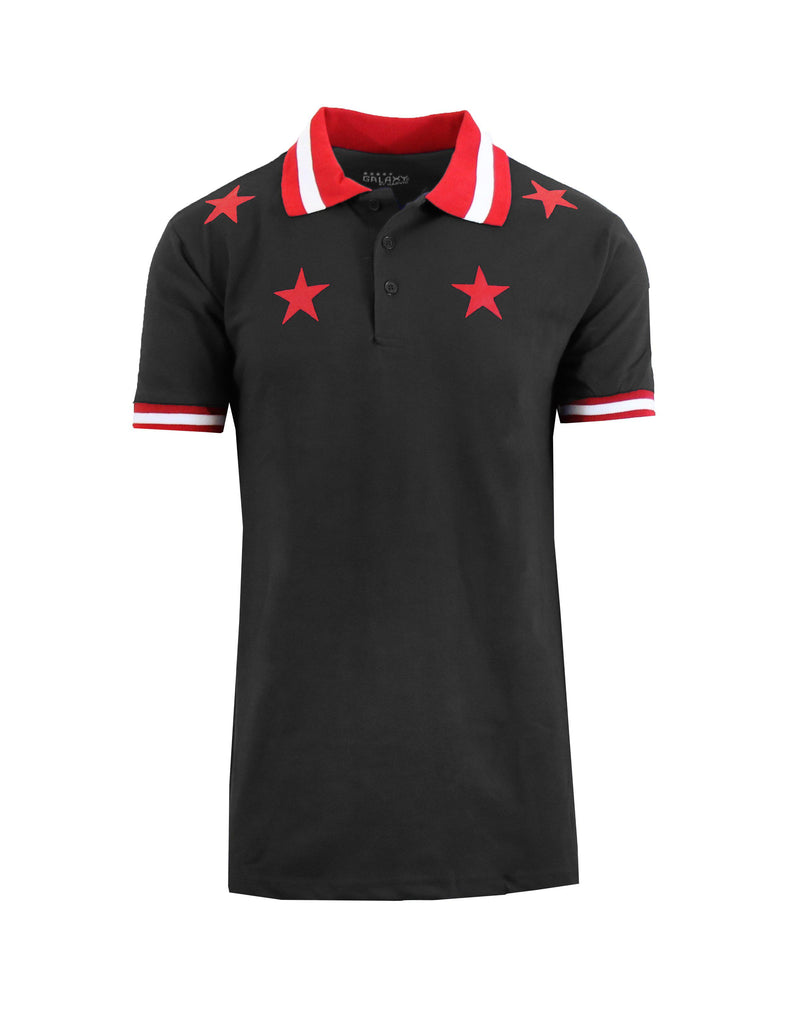 Short Sleeve Printed Polo Shirt for Men-Black Star-Small-Daily Steals
