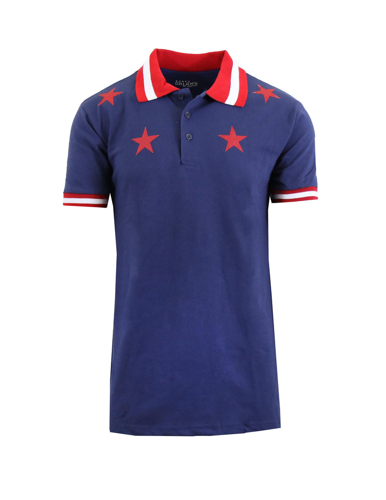 Short Sleeve Printed Polo Shirt for Men-Navy Star-Small-Daily Steals