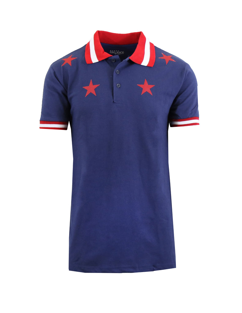 Daily Steals-Short Sleeve Printed Polo Shirt for Men-Men's Apparel-Navy Star-Small-