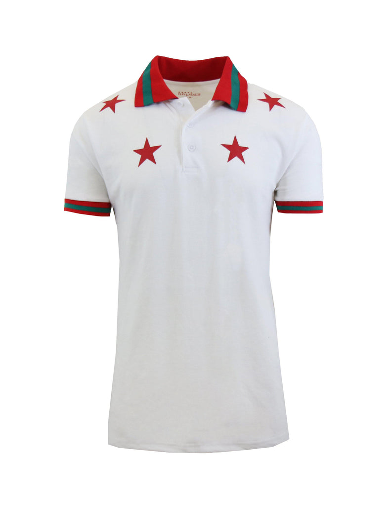Short Sleeve Printed Polo Shirt for Men-White Star-Small-Daily Steals