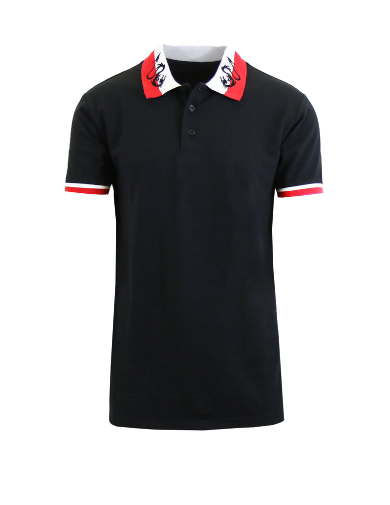 Daily Steals-Short Sleeve Printed Polo Shirt for Men-Men's Apparel-Black Dragon-Small-