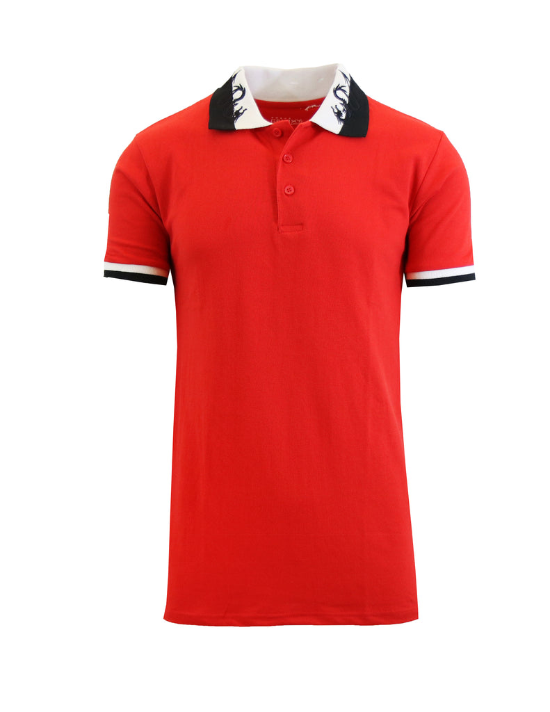 Daily Steals-Short Sleeve Printed Polo Shirt for Men-Men's Apparel-Red Dragon-Small-