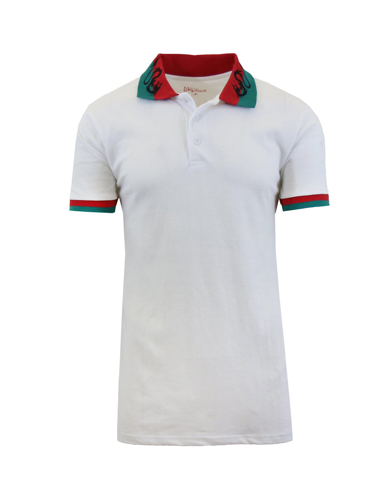 Short Sleeve Printed Polo Shirt for Men-White Dragon-Small-Daily Steals